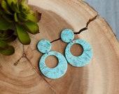 Polymer Clay Earrings, Light Teal, Turquoise Gold Marbled, Dangle, Large Medium Circle Cutout, Minimalist, Geometric, Boho, Statement
