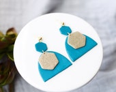 Polymer Clay Earrings, Peacock Blue Turquoise Hexagon Half Oval Arch, Gold Glitter Hexagon, Dangle, Geometric, Minimalist, Modern