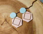Polymer Clay Earrings, Blue Speckle Circle, Gold Square, Pink Hexagon, Dangle Earrings, Minimalist, Geometric Clay, Statement Earrings