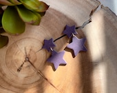 Polymer Clay Earrings, Dark Purple Glitter, Small Star Medium Star Dangle, Geometric, Statement Earrings