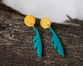 Polymer Clay Earrings, Boho Design Feather Sun Dangles