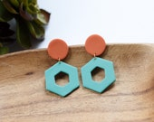 Polymer Clay Earrings, Orange, Teal, Circle, Hexagon, Geometric, Minimalist, Modern, Statement