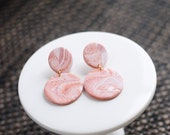 Polymer Clay Earrings, Circle Dangle, Peach, Orange, White, Marble, Watercolor, Minimalist, Geometric, Modern, Statement