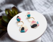 Polymer Clay Earrings, Translucent, Pink, Turquoise, Black, Gold Hexagon Dangle Earrings, Minimalist, Modern, Geometric Clay Earrings