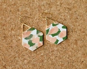 Polymer Clay Earrings, Classy, Gold Triangle, Peach Olive Green White, Paint Brush Stroke, Terrazzo, Minimalist, Geometric Clay, Statement