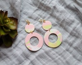 Polymer Clay Earrings, Circle Dangle, Pink, Green, White, Sage Green Black, Marble, Watercolor, Minimalist, Geometric, Modern, Statement