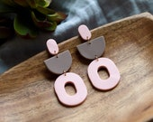 Polymer Clay Earrings, Oval Semicircle Dangle, Light Pink, Tan, Mocha, Minimalist, Geometric, Modern, Statement