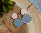 Polymer Clay Pink Speckle, Gray, Hexagon Circle Dangle Earrings, Minimalist, Modern, Geometric Clay, Statement Earrings