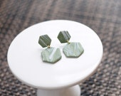 Polymer Clay Earrings, Olive Green and White, Marble, Hexagon, Geometric, Minimalist, Modern, Statement