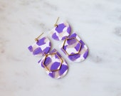 Polymer Clay Earrings, Purple Shimmer, White, Gold Translucent, Semicircle, Minimalist, Geometric Clay Statement Earrings