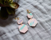 Polymer Clay Earrings, Pink, Mint Green, Lavender, Marble, Hexagon, Geometric, Minimalist, Modern, Statement