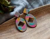 Polymer Clay Earrings, Tan, Yellow, Turquoise, Pink, Diamond Oval Dangle Earrings, Minimalist, Modern, Geometric, Statement Earrings