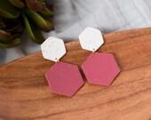 Polymer Clay Earrings, Translucent Black Brown Gold, White & Wine Speckle, Hexagon, Geometric, Minimalist, Modern, Statement Earrings