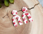 Polymer Clay Earrings, Circle Arch Dangle, Valentine's Day, Red, White, Gold Foil, Minimalist, Geometric, Terrazzo, Statement Earrings