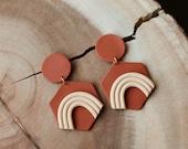 Polymer Clay Earrings, Terra Cotta, Ecru Peach Speckle Olive Green Rainbow, Circle, Hexagon, Geometric, Minimalist, Modern, Statement