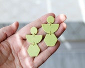 Polymer Clay Geometric, Minimalist, Circle, Semicircle, Hexagon, Lime Green Dangle Earrings