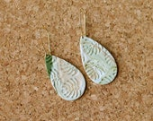 Polymer Clay Earrings, Classy, Marbled Teardrop, Palm Leaf, Tropical Leaf, Monstera Leaf, Gold Ear Wire Dangle, Minimalist