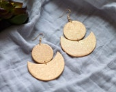 Polymer Clay Earrings, Circle Moon Dangle, Gold Shimmer, Minimalist, Geometric, Modern, Statement Earrings
