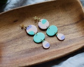 Polymer Clay Earrings, Circle Dangle, Pink, Lavender, Mint Green, Minimalist, Geometric, Modern, Statement