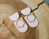 Polymer Clay Earrings, SemiCircle Hexagon Dangle, Pastel Pink Speckle, Minimalist, Geometric,Statement