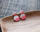 Polymer Clay Earrings, Hexagon, Watercolor, Ombre, Gradient, Geometric, Statement, Minimalist, Dangle Modern, Coral, Pearl Shimmer