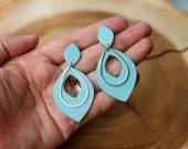 Polymer Clay Earrings, Light Teal Small Leaf Large Leaf Cutout, Geometric, Statement Earrings