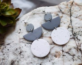 Polymer Clay Earrings, Circle Semicircle Dangle Earrings, Gray, White Speckled, Minimalist, Modern, Geometric Clay Earrings