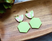 Polymer Clay Earrings, Pink, Green, White, SemiCircle, Hexagon, Geometric, Minimalist, Modern, Statement