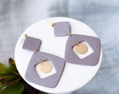 Polymer Clay Earrings, Dusty Purple Shimmer, Gold Circle Accent, Square, Geometric, Minimalist, Modern, Statement