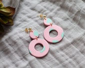 Polymer Clay Earrings, Mini Circle Dangle, Light Pink, Mint Green, Minimalist, Geometric, Modern, Statement