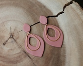 Polymer Clay Earrings, Mauve Pink Small Leaf Large Leaf Cutout, Geometric, Statement Earrings