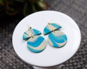 Polymer Clay Earrings, Circle Semicircle Dangle, Turquoise Shimmer, Beige Marble, Watercolor, Minimalist, Geometric, Modern, Statement