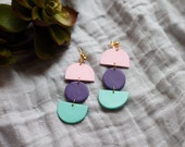 Polymer Clay Earrings, Circle Semicircle Dangle Earrings, Pink, Purple, Mint Green, Minimalist, Modern, Geometric Clay Earrings