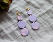 Polymer Clay Earrings, Circle Dangle, Pink, Lavender, Marble, Watercolor, Minimalist, Geometric, Modern, Statement