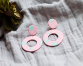 Polymer Clay Earrings, Circle Dangle, Light Pink, Mint Green, Minimalist, Geometric, Modern, Statement