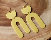 Polymer Clay Earrings, SemiCircle Large Rounded Arch Dangle, Mustard Yellow, Minimalist, Geometric, Modern, Statement Earrings