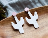 Polymer Clay Speckled White Cactus Dangle Earrings, Pink Circle, Minimalist, Modern, Geometric, Statement Earrings, Sage Green