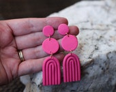 Polymer Clay Earrings, Pink, Geometric, Statement, Circle, Arch, Dangle, Minimalist, Modern, 80s