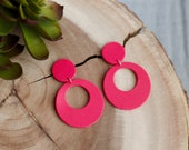 Polymer Clay Earrings, Valentine's Day, Speckled Raspberry, Dangle, Pink, Large Medium Circle Cutout, Minimalist, Geometric, Statement