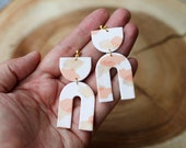 Polymer Clay Earrings, SemiCircle Large Arch Dangle, White, Peach, Gold Glitter Paint stroke, Watercolor, Minimalist, Geometric,Statement