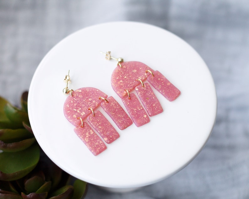 JELLY Polymer Clay Earrings Pistachio Green Blue Gray Pink Pink with Gold