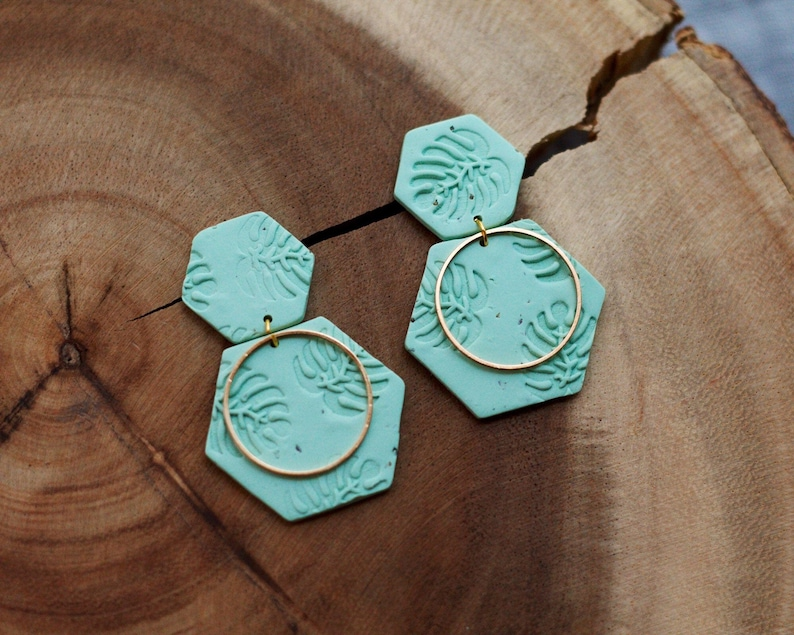 Polymer Clay Earrings Tropical Leaf Palm Leaf Monstera image 0
