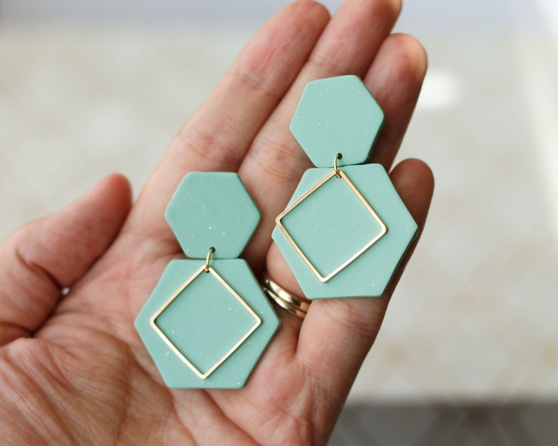 Polymer Clay Earrings Medium and Large Hexagon Geometric image 0
