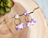 Polymer Clay Earrings, Purple, White, Gold Glitter, Circle, Gold Hexagon, Teardrop Leaf Earrings, Minimalist, Modern