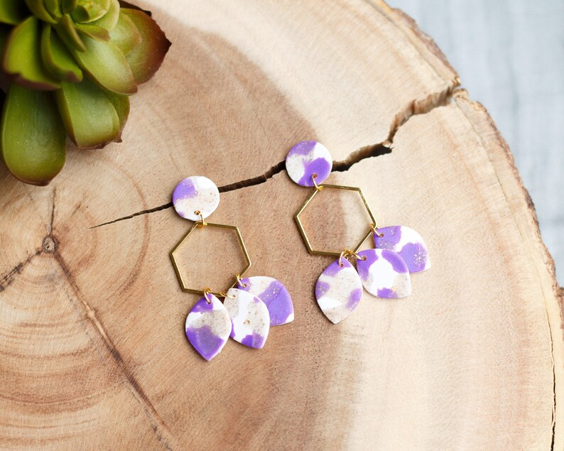 Polymer Clay Earrings Purple White Gold Glitter Circle image 0