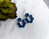 Polymer Clay Earrings, Statement Earrings, Floral Loop, Navy Blue Floral Pattern Circle, Minimalist, Geometric Earrings