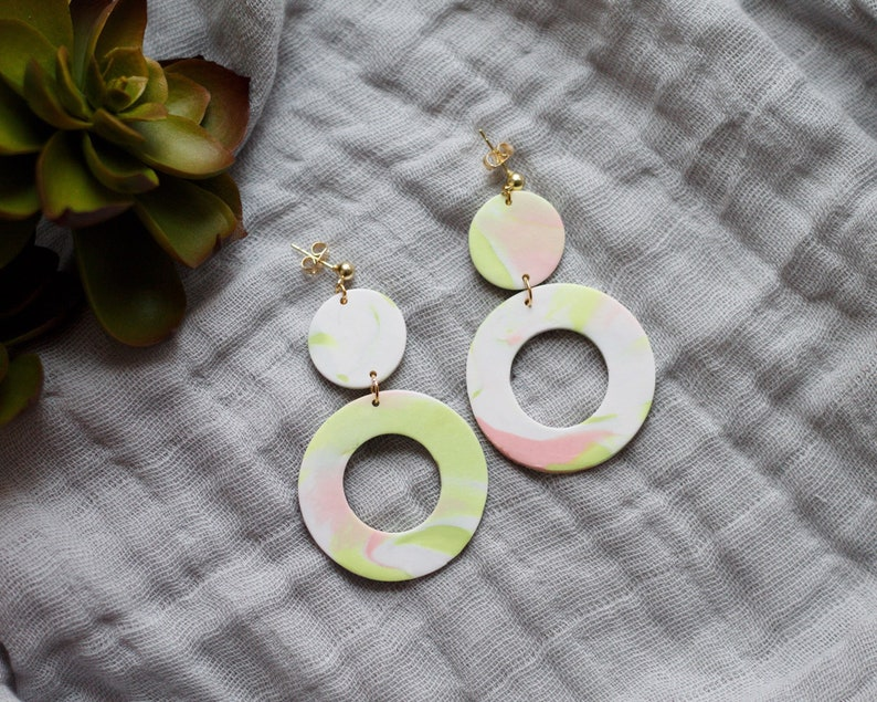 Polymer Clay Earrings Circle Dangle Pink Green White image 0