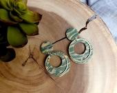 Polymer Clay Earrings, Olive Green, Tan, Marbled, Golden Circle Dangle, Light Green, Minimalist, Geometric, Modern, Statement