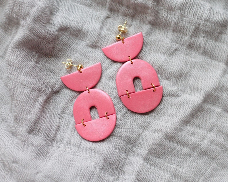 Polymer Clay Earrings Semicircle Arch Dangle Pink image 0
