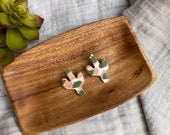 Polymer Clay Translucent Small Cactus Dangle Earrings, Peach, Olive Green, Minimalist, Modern, Geometric, Statement Earrings
